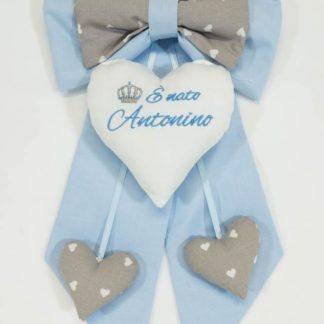 Fiocco nascita azzurro e grigio per Antonino