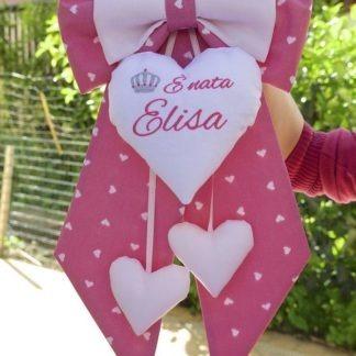 Fiocco nascita rosa con corona per Elisa
