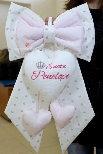 Fiocco nascita panna con corona per Penelope