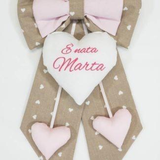 Fiocco nascita tortora e rosa per Marta