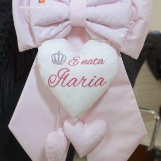 Fiocco nascita rosa con cuore glitterato e corona per Ilaria