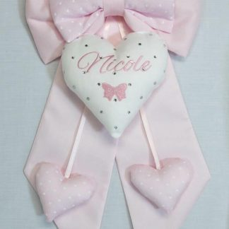 Fiocco rosa chiaro con fiocchetto e brillanti per Nicole