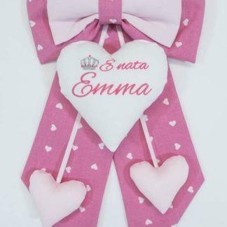 Fiocco nascita rosa con corona per Emma