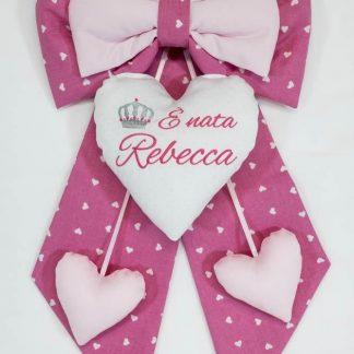 Fiocco nascita rosa con cuore glitterato e corona per Rebecca