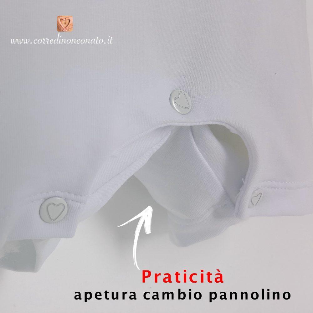 Pagliaccetto neonato apertura cambio pannolino corredino - Cambio pannolino in bagno ...
