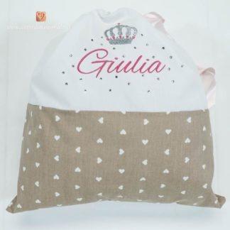 Sacco nascita con brillanti e corona per Giulia