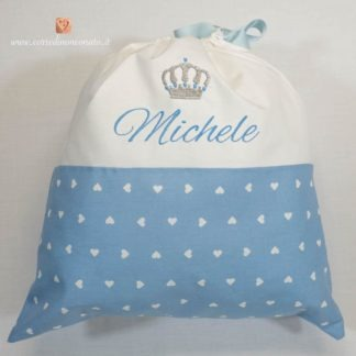Sacco nascita con corona per Michele