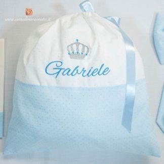 Sacco nascita glitterato con corona per Gabriele