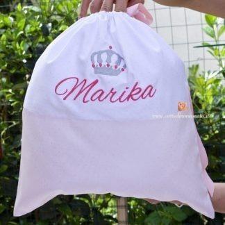 Sacco nascita glitterato con corona per Marika