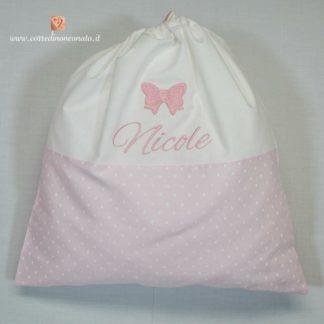 Sacco nascita rosa con fiochetto per Nicole