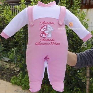 Tutina salopette rosa con frase ed orsetti per Aurora