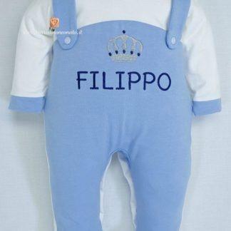Tutina salopette azzurra con corona per Filippo