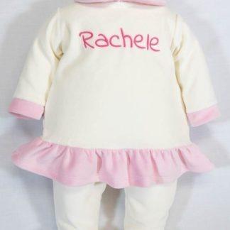 Coprifasce di ciniglia panna e rosa per Rachele