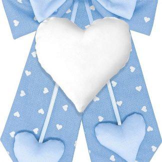 Fiocco nascita azzurro a cuori con cuore centrale bianco