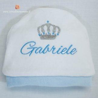Cappellino di ciniglia con corona per Gabriele
