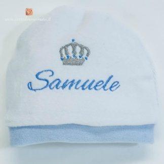 Cappellino di ciniglia con corona per Samuele