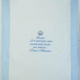 Coperta di cotone con corona e frase per Biagio
