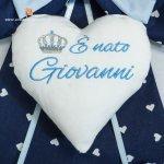 Fiocco nascita blu corona E' nato Giovanni