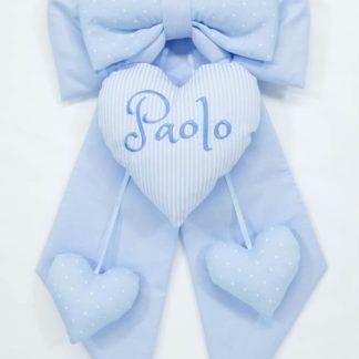 Fiocco nascita azzurro cuore rigato per Paolo