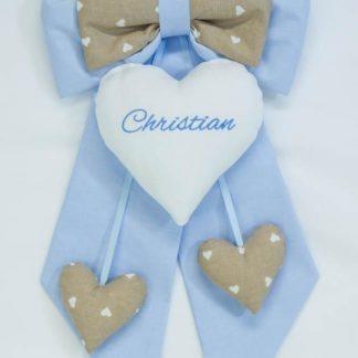 Fiocco nascita azzurro e tortora per Christian