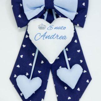 Fiocco nascita blu con corona per Andrea