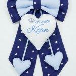 Fiocco nascita blu con corona E' nato Kian