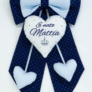 Fiocco nascita glitter con corona e brillanti per Mattia