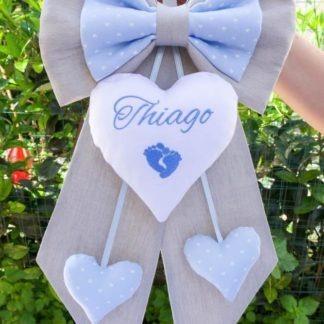 Fiocco grigio e azzurro con piedini per Thiago