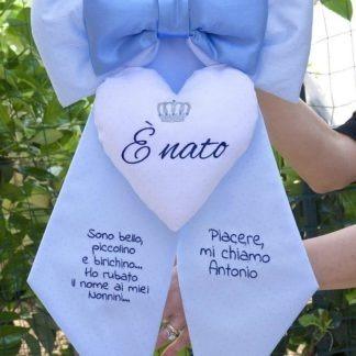 Fiocco nascita azzurro glitterato per Antonio