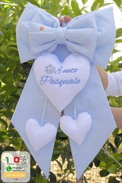 Fiocco nascita glitterato azzurro e bianco per Pasquale