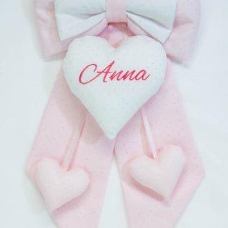 Fiocco glitterato rosa e bianco per Anna