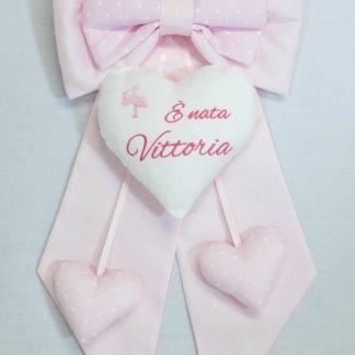 Fiocco nascita rosa con cicogna E' nata Vittoria