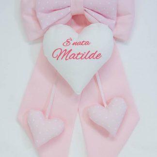 Fiocco nascita rosa chiaro E' nata Matilde