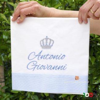 Lenzuolino con balza azzurra glitterata per Antonio Giovanni