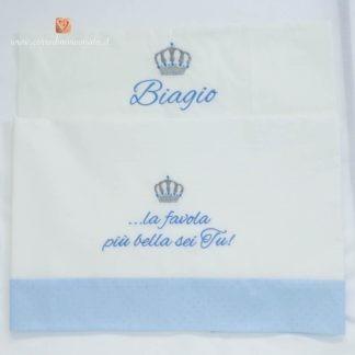 Lenzuolo con balza glitterata corona e frase per Biagio