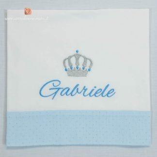 Lenzuolo con balza glitterata e corona per Gabriele