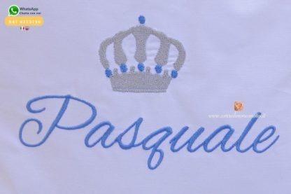 Lenzuolo con balza glitterata e corona per Pasquale