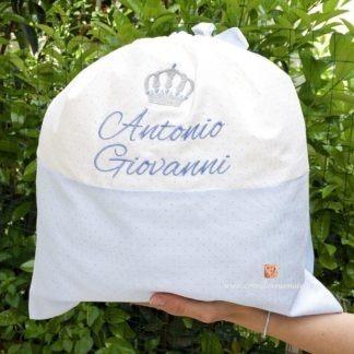 Sacco glitterato con corona per Antonio Giovanni