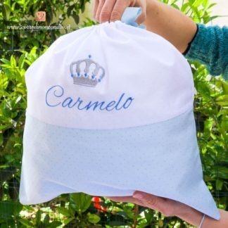 Sacco nascita glitterato con corona per Carmelo