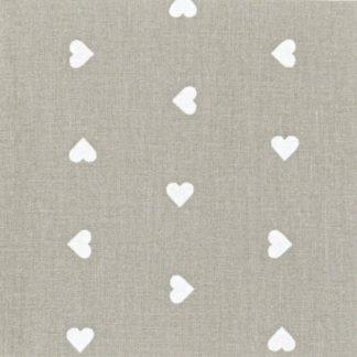 Tessuto di cotone grigio a cuoricini bianchi