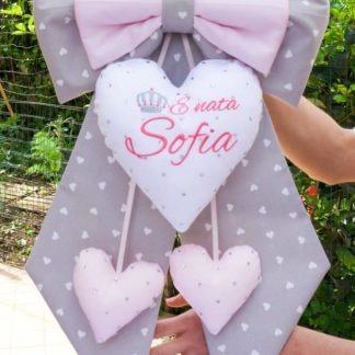 Fiocco per Sofia grigio e rosa con brillanti