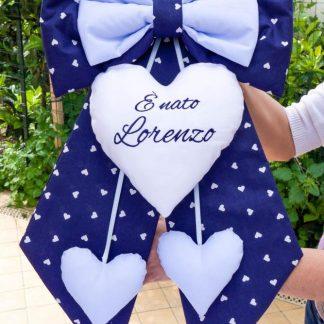 Fiocco nascita bimbo blu e azzurro per Lorenzo