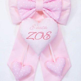 Fiocco nascita rosa con cuore rigato per Zoe