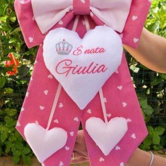 Fiocco nascita rosa con cuore glitterato per Giulia