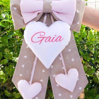 Fiocco nascita bimba tortora e rosa per Gaia