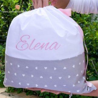 Sacco nascita grigio a cuori per Elena