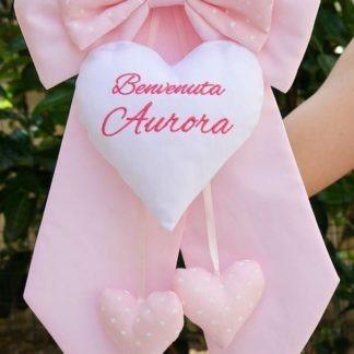 Fiocco nascita rosa chiaro Benvenuta Aurora