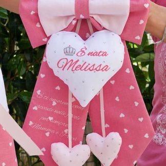 Fiocco nascita rosa con brillanti e frase per Melissa