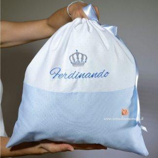 Sacco nascita glitterato con corona per Ferdinando