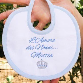 Bavetta per Mattia con frase dedica e corona